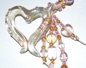 Pink Glass Heart OOAK Beaded Keychain or Purse Jewelry