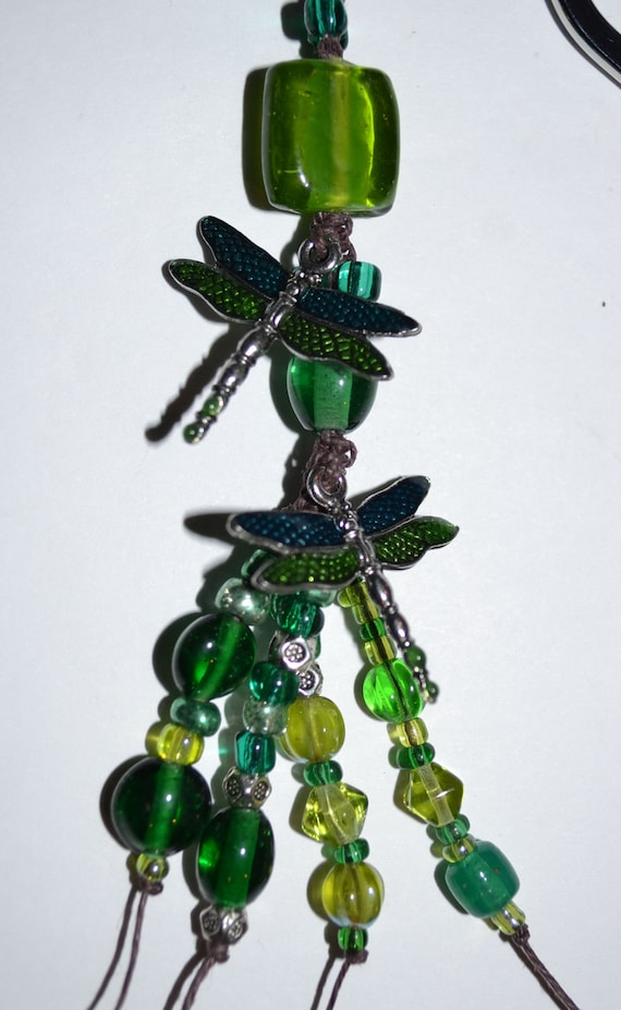 Emerald Green Dragonfly Bookmark Handmade beaded with Free Blank Journal Green White Eyelet