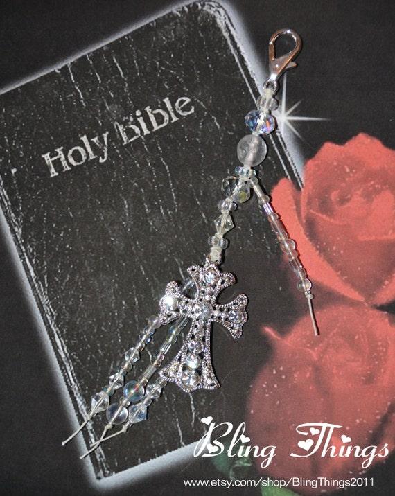 Cross Keychain or Purse Jewelry Sparkling Rhinestone
