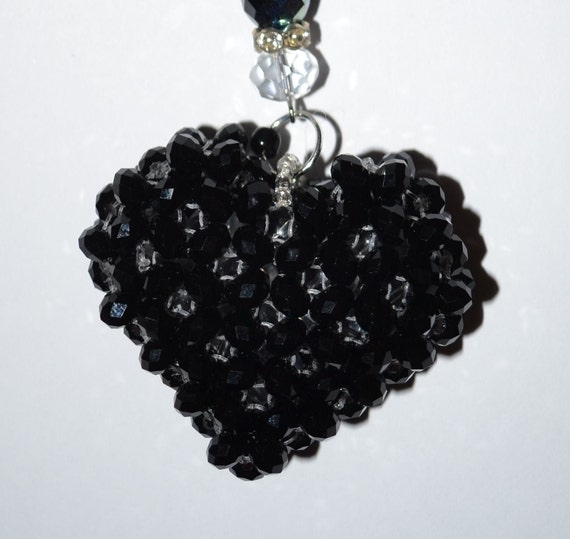 Valentine's Day Black Heart Beaded Ornament Gifts Under 10