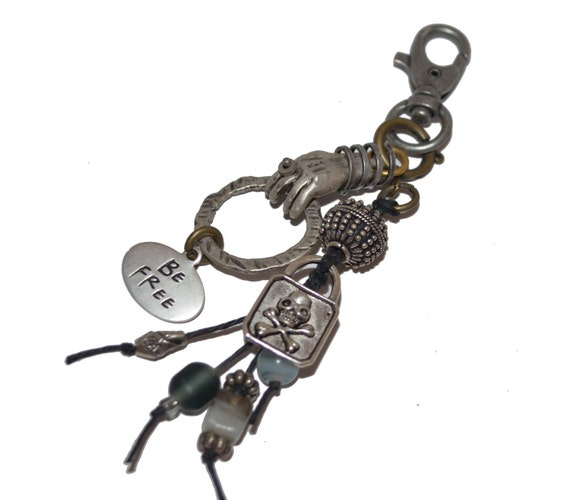 OOAK Gifts for Men, Be Free Upcyled Recycled Art Keychain or Purse Jewelry