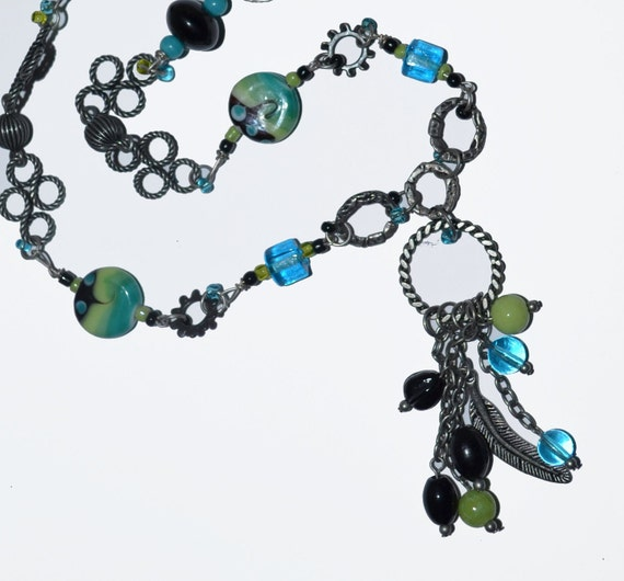 Hurricane Sandy MadCap Chairty 100% Donate to Red Cross Southwest OOAK Necklace Recycled Art Jewelry Blue Green Black