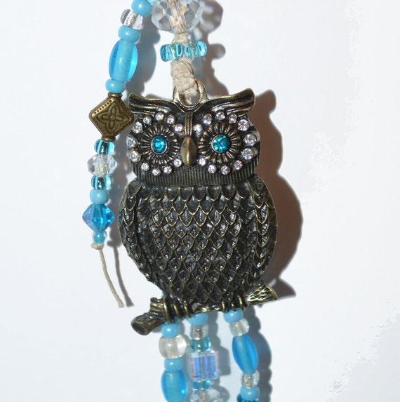 Owl Keychain/Purse Jewelry OOAK Big Blue Rhinestone Eyes Brass Hand Beaded