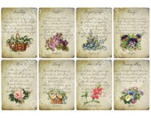 Language of Flowers - ATC, ACEO, tags - Digital Collage Sheet Printable Download - 52