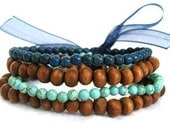 Blue Stretch Elastic Beaded Bracelets, Blue Turquoise and Wood Beaded (QTY 4)- SALT WATER