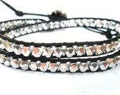 Black and Silver Beaded Leather Wrap Bracelet, Triple wrap- TWILIGHT