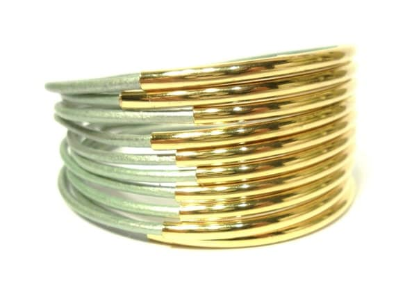 Beaded Leather Bangle Bracelets, Mint Green and Gold-Plated Bead (QTY 10)
