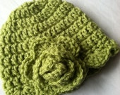 Crochet Baby Hat with Flower, Cozy Crochet Baby Hat in Apple Green, Winter Hat, Photo Prop, Hat with Flower, Newborn, Child, Toddler
