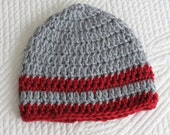 Crochet Baby Beanie in Red and Gray, Crochet Baby Hat, Newborn Hat, Winter Hat, Photo Prop, Valentine Gift for Baby, Little Boy Hat