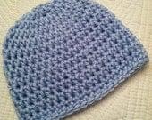 Newborn Baby Boy Snuggly Crochet Baby Beanie in Blue, Baby Boy Hat, Newborn Boy Hat, Photo Prop, Crochet Hat