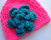 Crochet Baby Hat with Flower, Bright Pink and Blue Hat, Newborn Hat with Flower, Crochet Baby Hat, Newborn Baby Hat