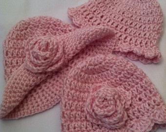 Newborn Baby Girl Vintage-Look Crochet Baby Hat Trio in Whisper of Dusty Rose, Newborn, Pink, Baby Girl