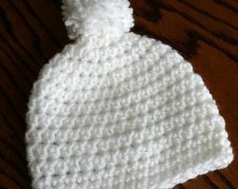 Crochet Baby Hat with Pompon, Crochet Baby Hat, Newborn Hat, White Hat, Baby Girl Hat, Winter Hat, Baby Hat, Photo Prop