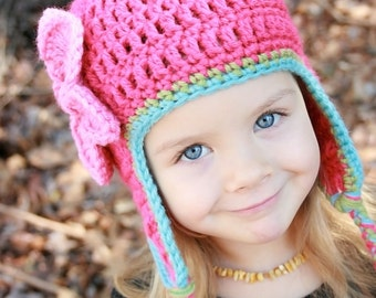 Crochet Hat with Flower and Earflaps, Fuscia Hat, Crochet Hat, Baby Hat, Newborn Hat, Baby Girl Hat, Christmas Hat, Photo Prop