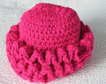 Crochet Baby Hat with Fuscia Pink Ruffles, Pink Baby Hat, Newborn Hat with Ruffles, Crochet Baby Hat, Newborn Baby Hat