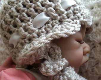 Newborn Baby Crochet Hat, Baby Hat, Child Hat, Hat with Earflaps, Baby Girl Hat, Crochet Baby Hat,  Accessories, Photo Prop