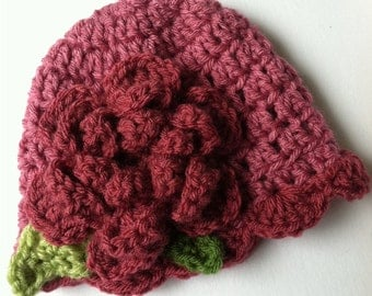 Crochet Baby Hat with Flower, Fuscia Hat with Flower, Baby Hat, Newborn Hat with Flower, Crochet Baby Hat, Newborn Hat, Infant Hat