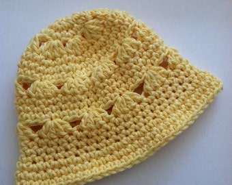 Yellow Sun Hat, Crochet Baby Hat, Newborn Hat, Baby Hat, Yellow Baby Hat, Baby Girl Hat, Summer Sun Hat