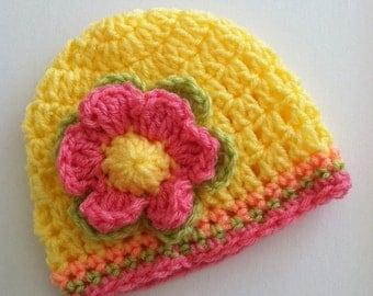 Crochet Baby Hat with Flower, Crochet Baby Hat, Newborn Hat, Baby Hat, Bright Yellow Baby Hat, Hat with Flower, Baby Girl Hat, Baptism