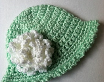 Crochet Baby Hat with Flower, Crochet Baby Hat, Newborn Hat, Baby Hat, Mint Green Baby Hat, Hat with Flower, Baby Girl Hat, Infant Hat