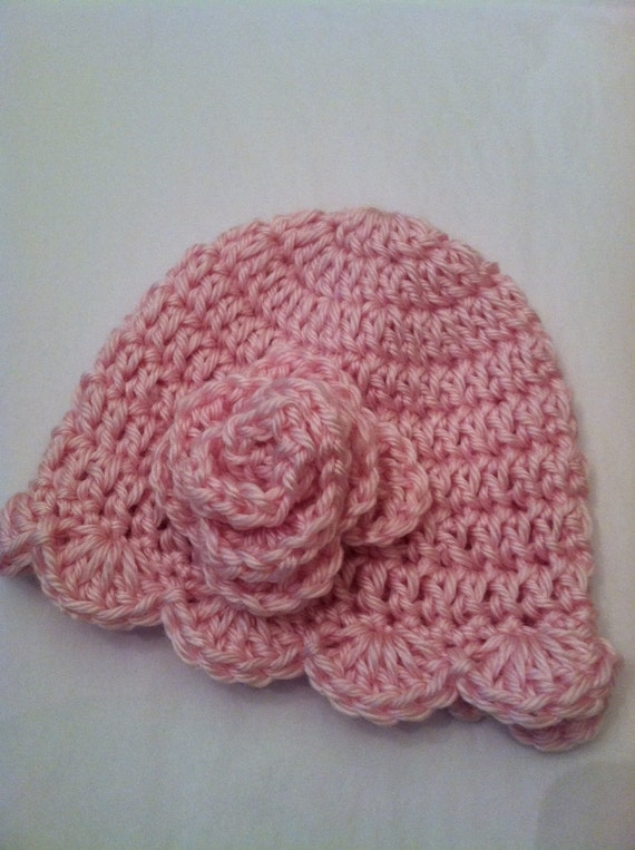 Newborn Baby Girl Vintage-Look Soft Pink Crochet Hat with Flower, Dusty Rose, Photo Prop, Valentine's Day Baby Hat
