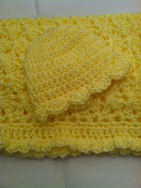 Crochet Baby Afghan, Baby Girl Afghan, Christmas Gift for Baby, Yellow Baby Afghan, Newborn Girl Gift, Baby Afghan, Holiday Gift for Baby
