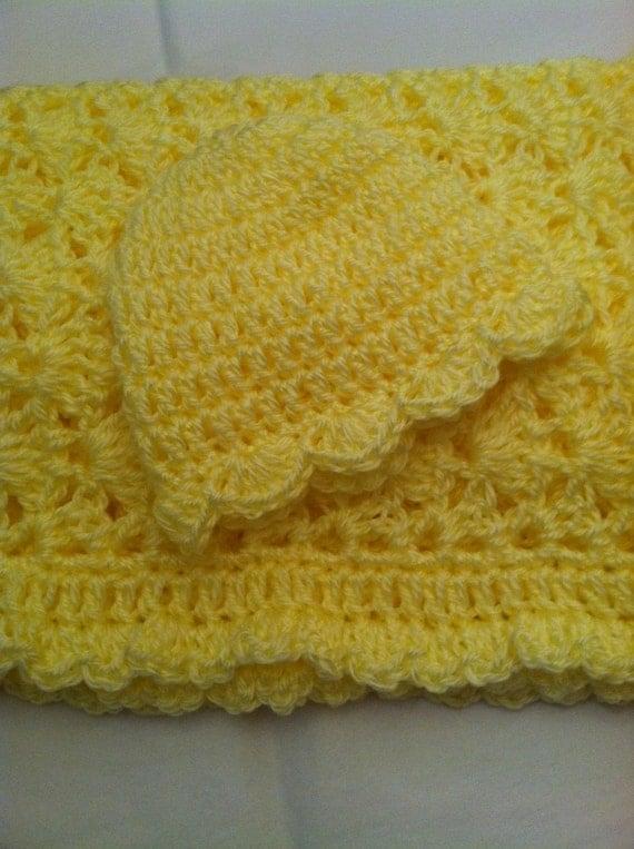 Crochet Baby Afghan, Baby Girl Afghan, Christmas Gift for Baby, Yellow Baby Afghan, Newborn Girl Gift, Baby Afghan, Holiday Gift for Baby