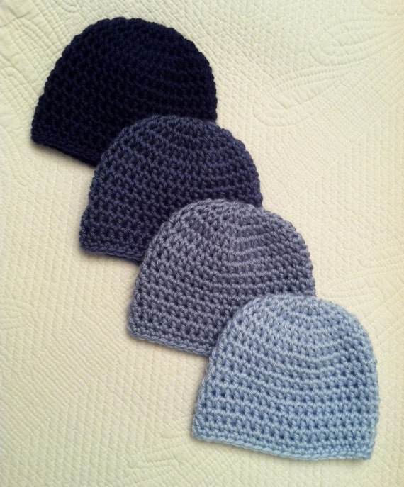 Crochet Baby Beanie Set in Blues, Crochet Baby Hat, Newborn Hat, Winter Hat, Photo Prop, Baby Boy Hat, Little Boy Hat