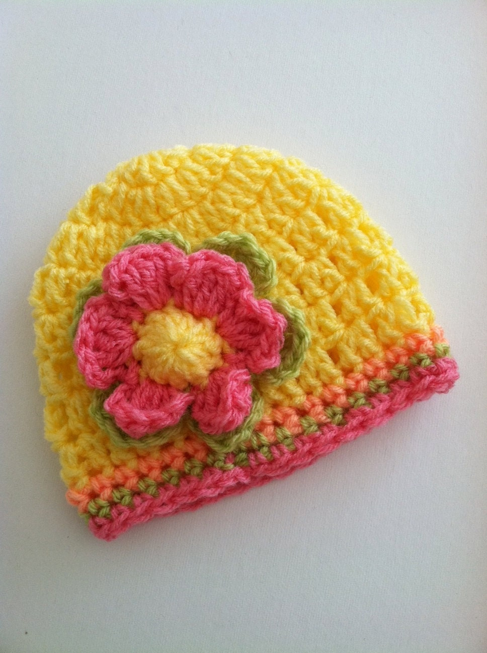 Crochet Baby Hat With Flower Crochet Baby Hat Newborn Hat