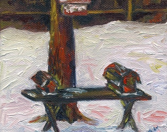 For the Birds One - Original Oil Painting 5x5 inches