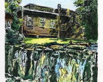 Waterfall in Brandon, VT  - Ink and Watercolor - 4x4 ORIGINAL matted and framed in 8x8 frame