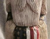 Hand Carved Patriotic Santa