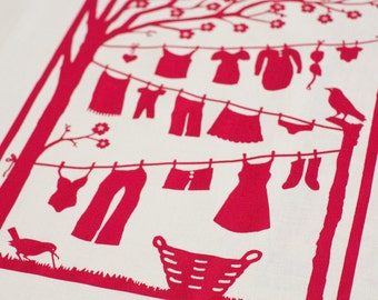 Laundry Line Tea Towel: Green or Raspberry (Sorry, green sold out)