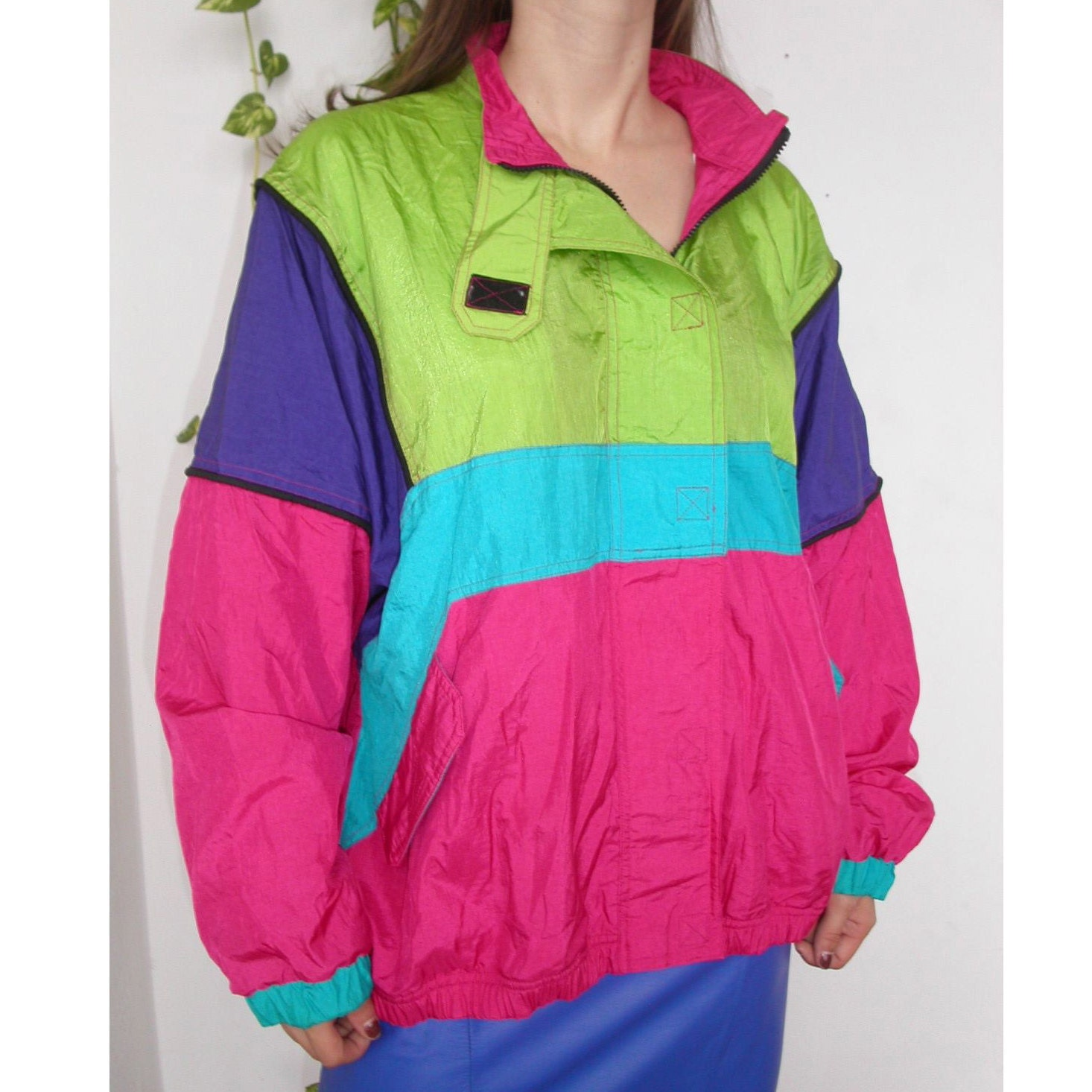 Neon warmup vintage 80s fluorescent track jacket by Kitschclassic