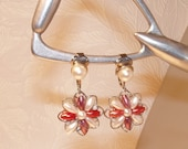Bead Flower Clip On Earrings