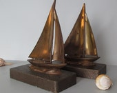 Antique Sailboat Nautical Bookends