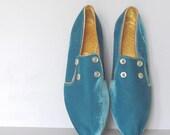 Turquoise Blue Velvet Slipper Shoes