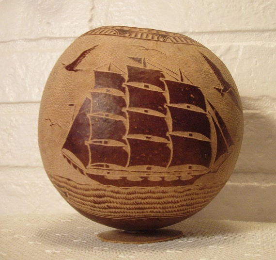 Hand Carved Natural Gourd Vessel Nautical Scene