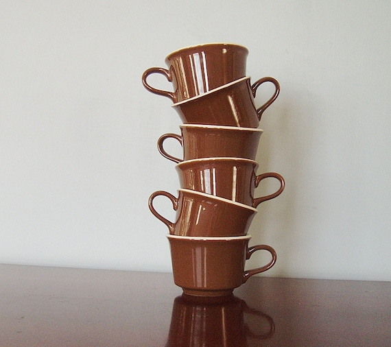Retro Diner Cafe Mocha Coffee Cups Set of 6 Brown and Cream 1960s Vintage Kitchen