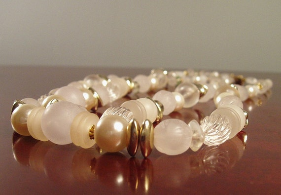 Lucite and Glass Bead Two Strand Necklace