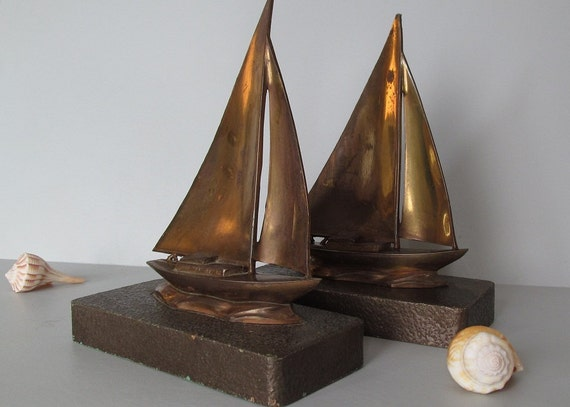 Antique Sailboat Nautical Bookends