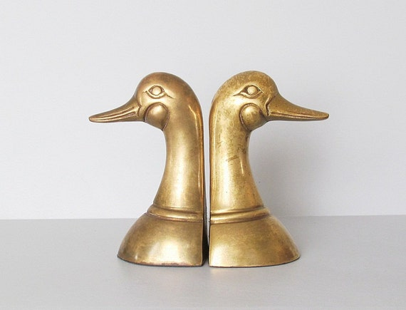 Bookends Solid Brass Duck Heads