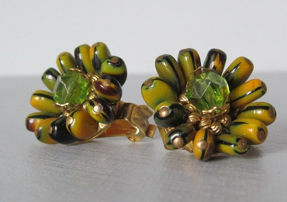 reserved for Carol - Hobe Glass Bead Clip On Earrings