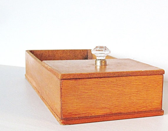 reserved for ALAN please do not buy Mid Century Desk Caddy Wooden Box Jewelry Stash