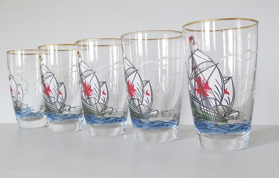 Mid Century Nautical Bar Ware Vintage Glasses Glassware Ship Ships Santa Maria Set of Six 6
