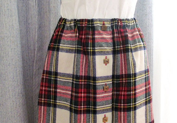 Reserved for Katie - Fall Classic Wool Plaid Skirt Black White Red  and Green Scotland Christmas Skirt