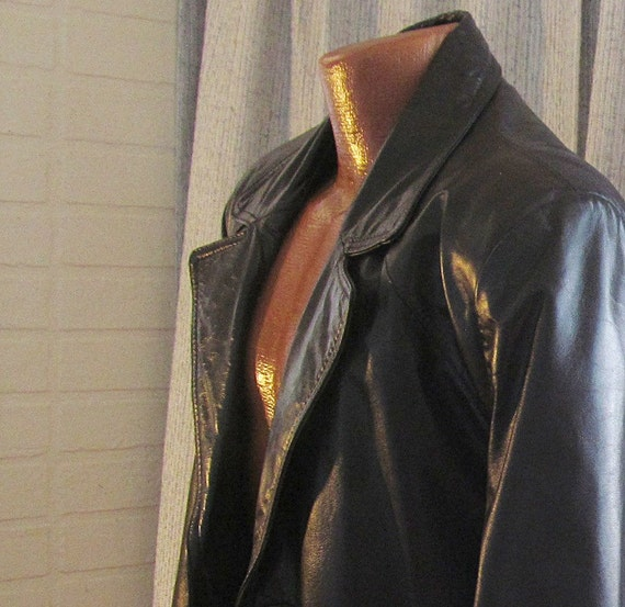 Vintage Mens Retro Bermans Leather Coat Jacket Blazer
