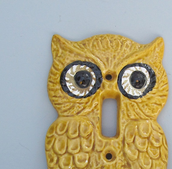Retro Owl Light Switch Cover Ceramic Kitsch