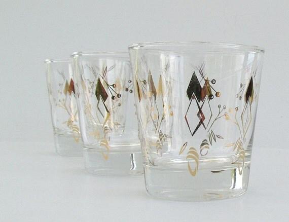 Vintage Glassware Cocktail Glasses Set of 3 Embellished in Gold