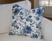 Designer Floral Pillow Cover / 20 X 20 /  Waverly Blue Floral Garden  / Decorative Throw Pillow